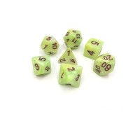 (Green+Yellow+White) Marble dice set  4/6/8/10/10s/12/20 - 7 Dice