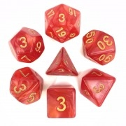 Red pearl dice set4/6/8/10/10s/12/20 - 7 Dice