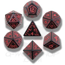Black and Red Runic Dice Set