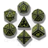 Black and White Runic Dice Set