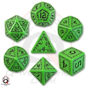 Green and Black Runic Dice Set