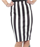 Sourpuss Stretchy Striped Scuba Skirt Black and White