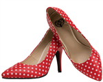 TUK Red Pointed Polka Dot Heels