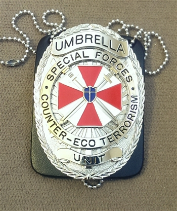 Resident Evil Umbrella SF Counter-Eco Terrorist Unit Metal Badge