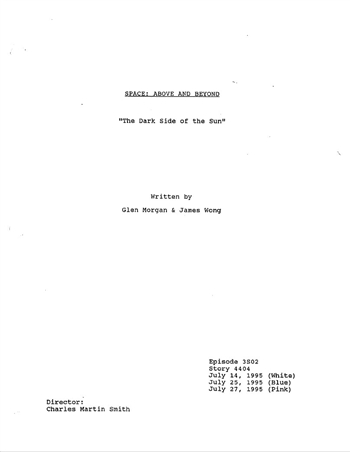 Screenplay: Space: Above And Beyond - Episode 2