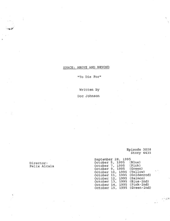Screenplay: Space: Above And Beyond - Episode 8