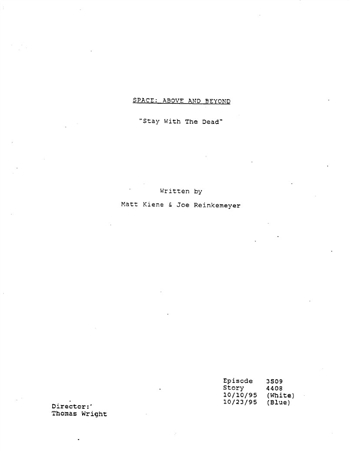 Screenplay: Space: Above And Beyond - Episode 9