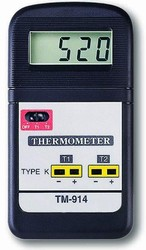 TM-914F / Two-Channel General Purpose Type K Thermocouple Thermometer Measures from 32°F to 1382°F or -40°C to 1200°C