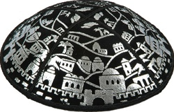 Foil Embossed Jerusalem Kippot (BE84F) - With Custom Imprinting