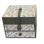 Emanuel Embroidered Jewelry Box with 2 Drawers