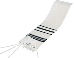 Traditional Wool Tallit - Prayer Shawl with Black, Blue or White Stripes