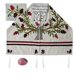 Yair Emanuel Raw Silk Tree of Life Pomegranates Tallit