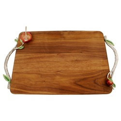 Wooden Tray w/Pomegranate Handles by Quest