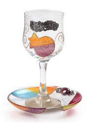 Glass Kiddush Cup & Tray