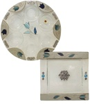 Glass Seder Plate & Matzah Tray by Lily Art