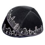 Velvet Embroidered Jerusalem Kippah