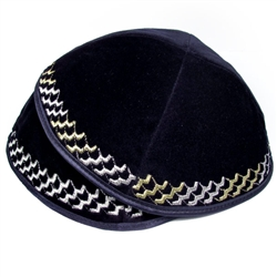 Navy Velvet Kippah with Zigzag Border