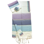 Gabrieli Pastel Purple and Blue Silk Tallit Set
