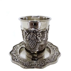 Grape Design Kiddush Cup with Tray