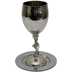 Hammered Nickel Kiddush Cup with Tray