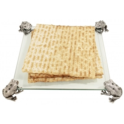 Frog Glass Matzah Tray