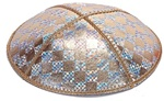 Bulk Leather Foil Embossed Kippot (FL110) - With Custom Imprinting