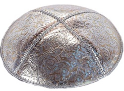 Bulk Leather Foil Embossed Kippot (FL116) - No Imprinting