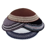 Knit Kippot With Classic Borders
