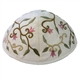 Embroidered Flower Kippah - White