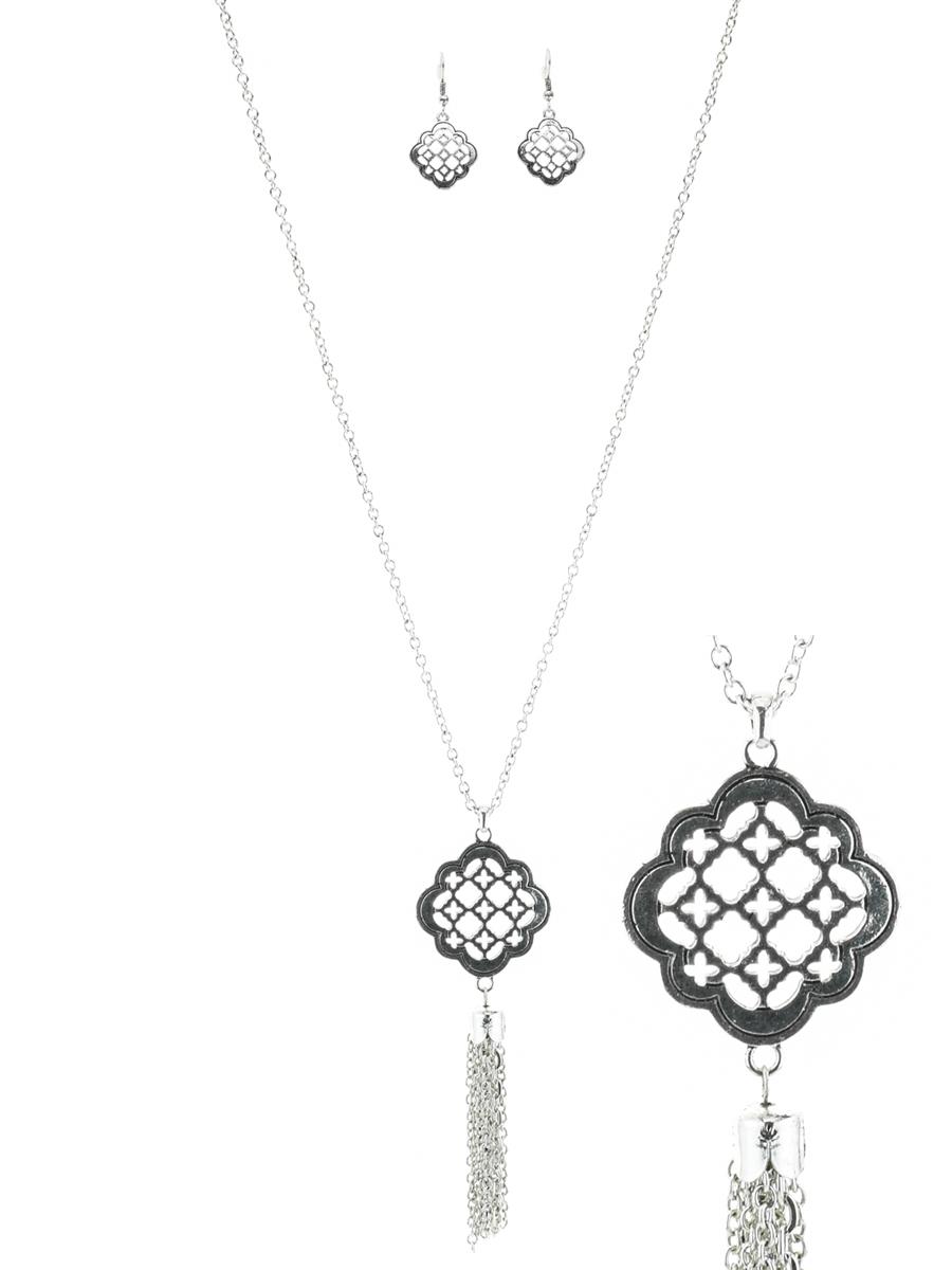 Quatrefoil pendant wchain tassel necklace set aloadofball Choice Image