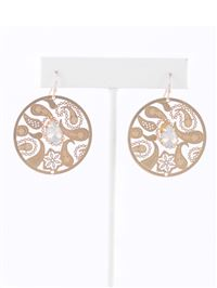 Paisley Circle Brass Earrings