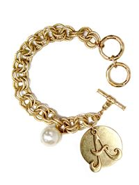 "Monogram ""A"" Double Toggle Bracelet"