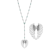 "Wing Pendant 30"" Turquoise Bead Necklace"