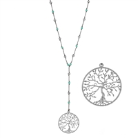 "Tree of Life Pendant 30"" Turquoise Bead Necklace"