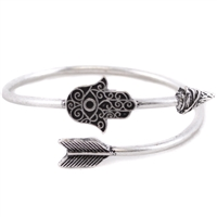 Hamsa Filigree Arrow Cuff - SILVER BURNISH