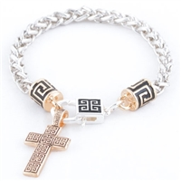 CROSS GREEK KEY BRACELET - Two Tone