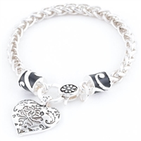 HEART DAMASK BRACELET - Antique Silver