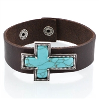 Cross Turquoise Leather Bracelet