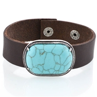 Oval Turquoise  Leather Bracelet