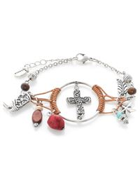 Western Cross Dream Catcher Bracelet - Silver/Brown