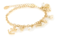 Bracelet with Anchor and Sealife Charms - Worn Gold