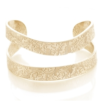 Designer Texture Cuff Bracelet - Gold Burnish