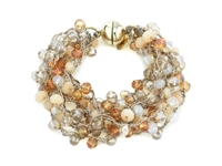 Glass Bead Hand Crocheted Magnetic Bracelet - Gold/ Topaz
