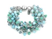 Glass Bead Hand Crocheted Magnetic Bracelet - Silver/ Turquoise