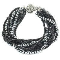 Glass Bead Magnetic Bracelet - Black