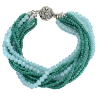 Glass Bead Magnetic Bracelet - Turquoise
