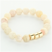 Semi Precious Stone Beaded Stretch Bracelet - light pink