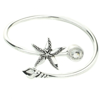 Star Fish Shell Crystal Cuff - Silver