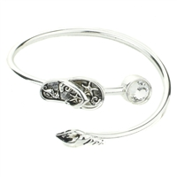 Flip Flop Shell Crystal Cuff - High Polish Silver