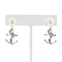 Anchor Pearl Earrings - Antique Silver